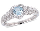 1/2 Carat (ctw) Sky Blue Topaz Heart Promise Ring in 10K White Gold